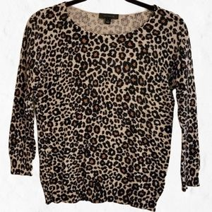 Ann Taylor Leopard Animal Print Top, Size Small
